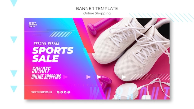 Modello di banner orizzontale per la vendita di sport online