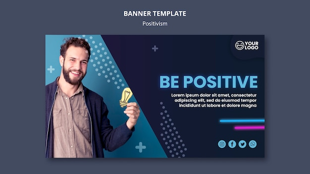 Horizontal banner template for optimism and positivism