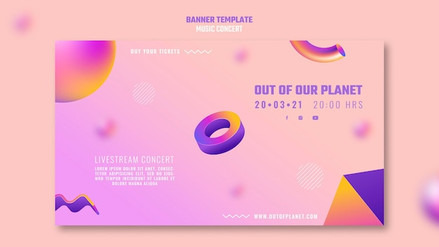 Horizontal banner template of out of our planet music concert