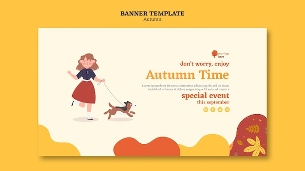 Horizontal banner template for outdoors autumn activities