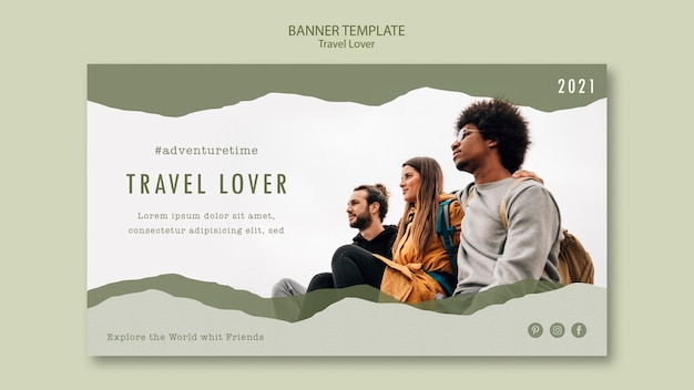 Horizontal banner template for outdoors traveling