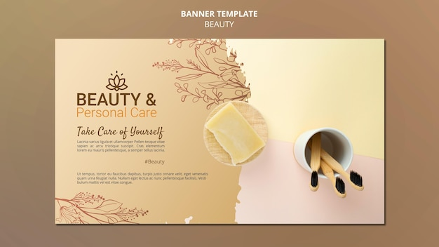 Horizontal banner template for personal care and beauty