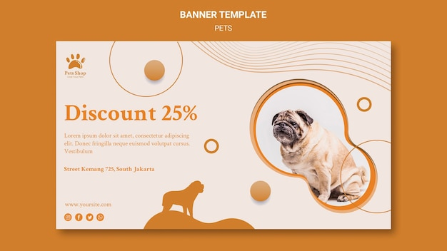 Horizontal banner template for pet shop with dog