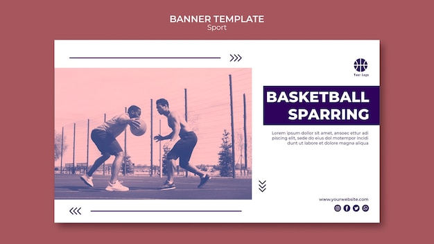 Horizontal banner template for playing basketball