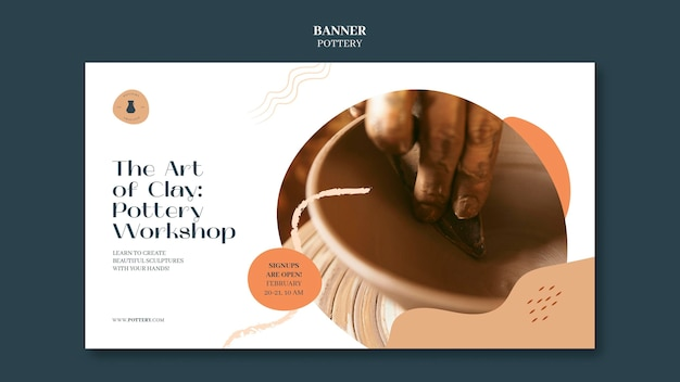 Horizontal banner template for pottery with clay vessels Premium Psd