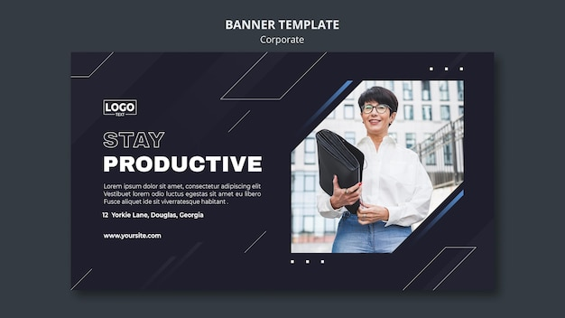 Horizontal banner template for professional business corporation