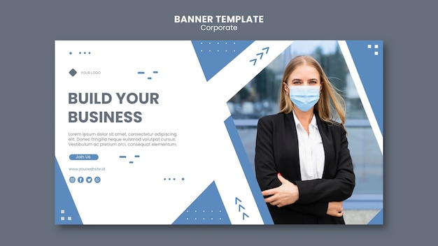 Horizontal banner template for professional business