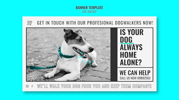 Horizontal banner template for professional dog walking company