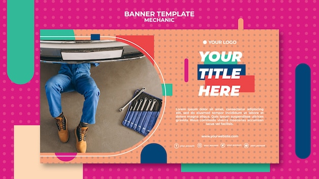 Horizontal banner template for professional mechanic
