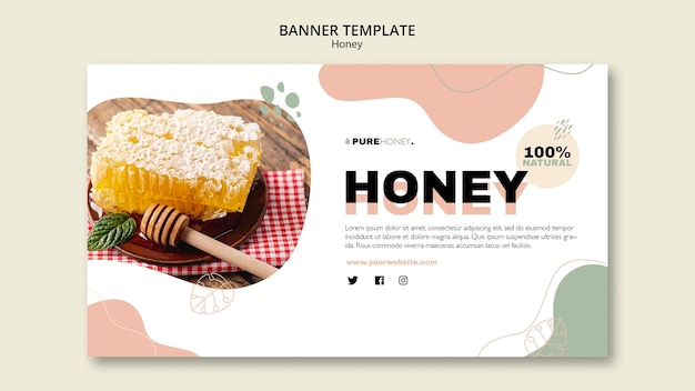 Horizontal banner template for pure honey