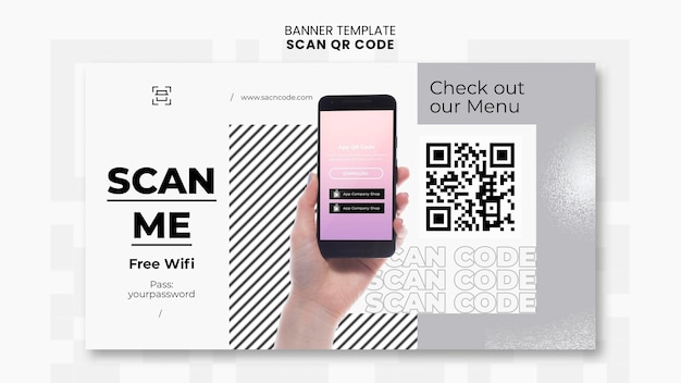 Horizontal banner template for qr code scanning with smartphone