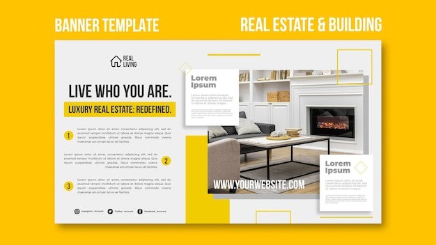 Horizontal banner template for real estate and building