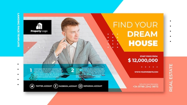 Horizontal banner template for real estate company