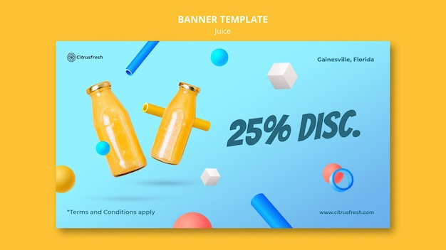 Horizontal banner template for refreshing orange juice in glass bottles