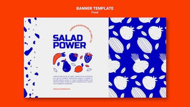 Modello di banner orizzontale per insalata