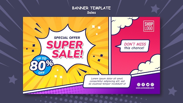 Horizontal banner template for sales in comic style