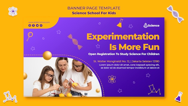 Horizontal banner template for science school for children Premium Psd