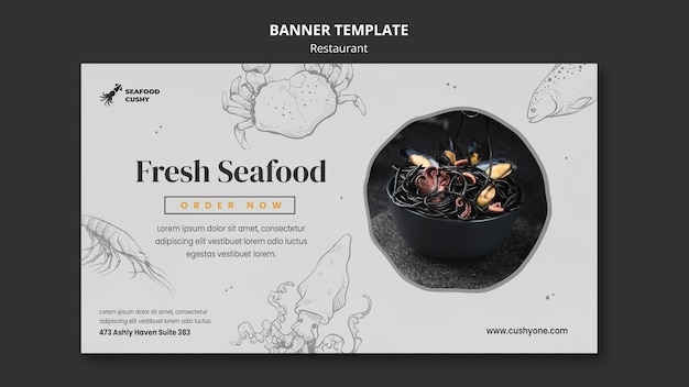Horizontal banner template for seafood restaurant with mussels and noodles
