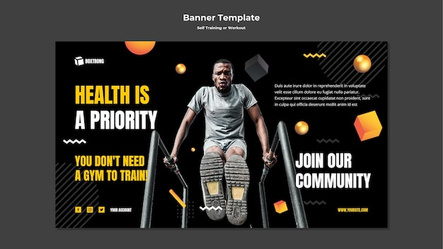 Horizontal banner template for self training and working out