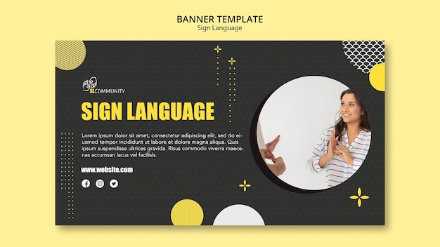 Horizontal banner template for sign language communication