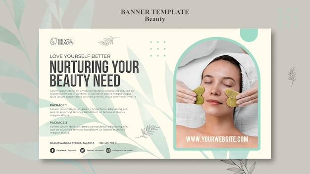 Horizontal banner template for skincare and beauty with woman