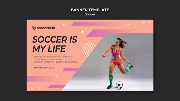 Horizontal banner template for soccer player