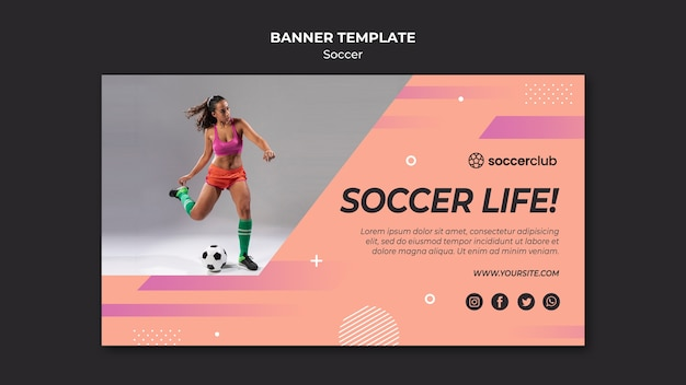 Horizontal banner template for soccer