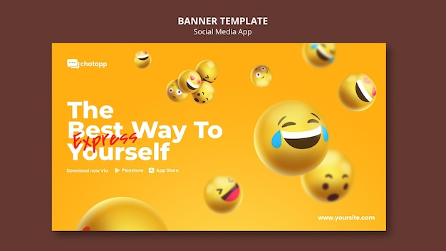 Horizontal banner template for social media chatting app with emojis