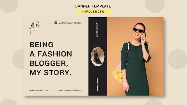 Modello di banner orizzontale per influencer di moda sui social media