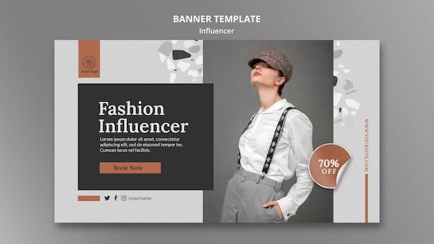 Horizontal banner template for social media female influencer