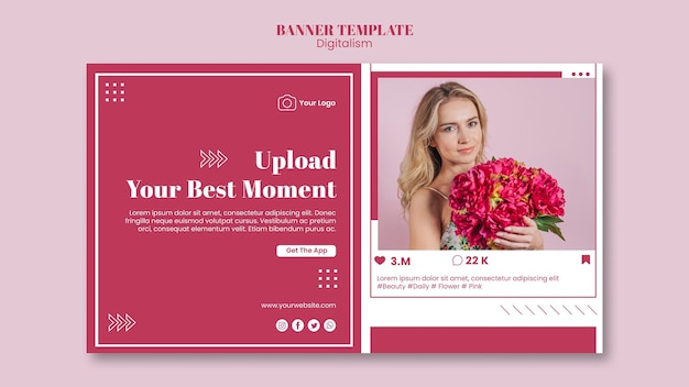 Horizontal banner template for social media photo uploading
