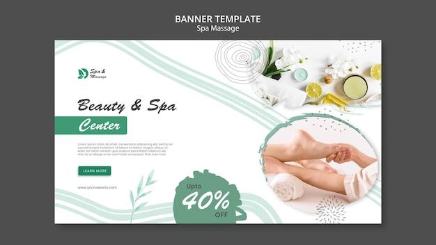 Modello di banner orizzontale per massaggio termale con donna
