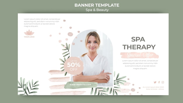 Horizontal banner template for spa therapy