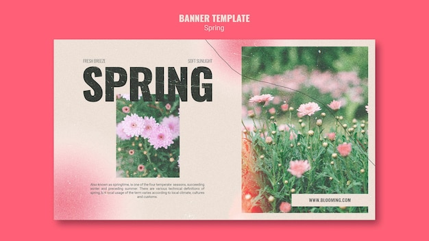 Horizontal banner template for springtime with flowers