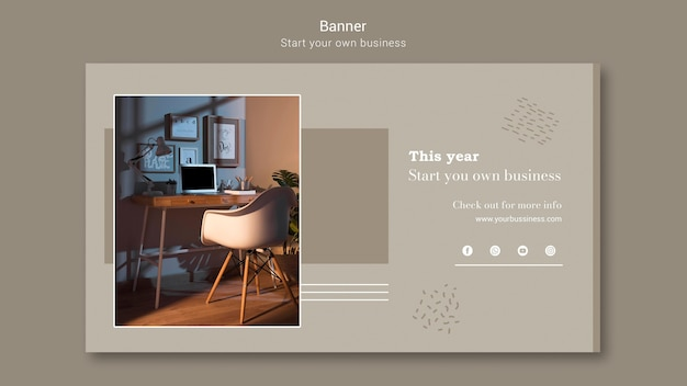 Horizontal banner template for starting own business