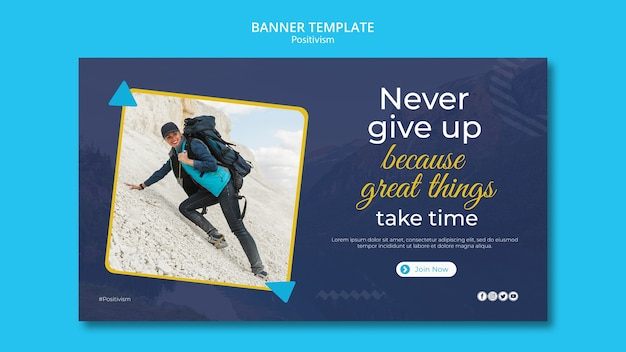 Horizontal banner template for staying positive
