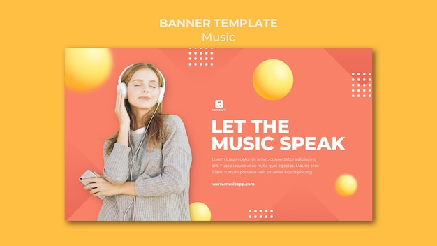 Horizontal banner template for streaming music online with woman wearing headphones