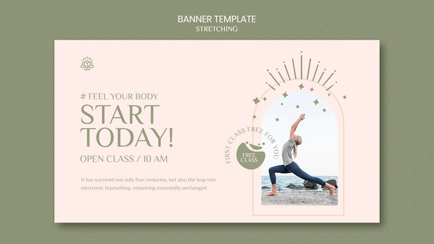 Horizontal banner template for stretching course