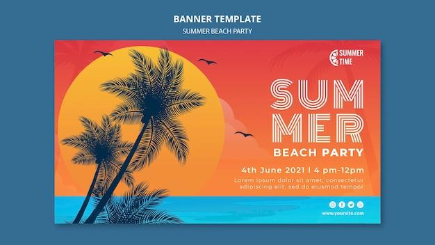 Modello di banner orizzontale per festa in spiaggia estiva
