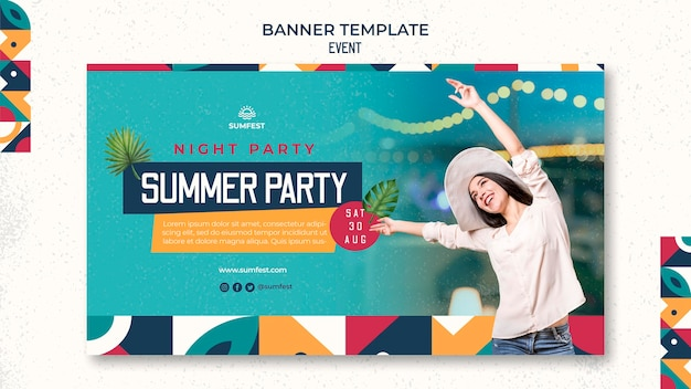 Horizontal banner template for summer party