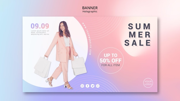 Horizontal banner template for summer sale
