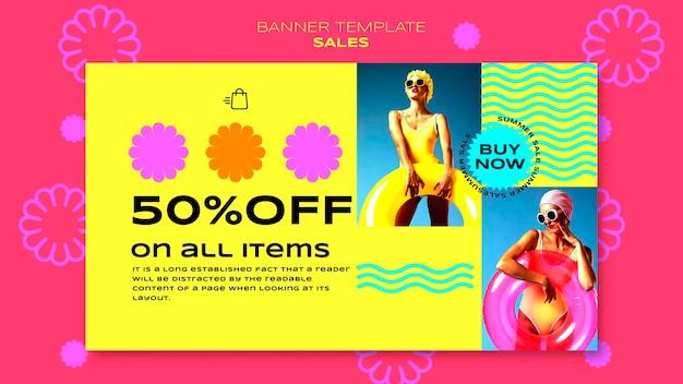 Modello di banner orizzontale per la vendita della stagione estiva