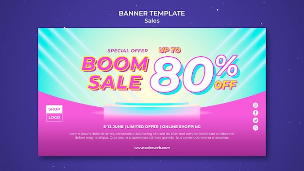 Horizontal banner template for super sale