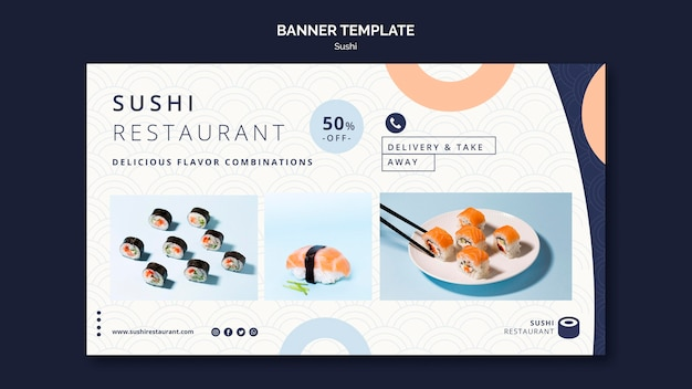 Horizontal banner template for sushi restaurant