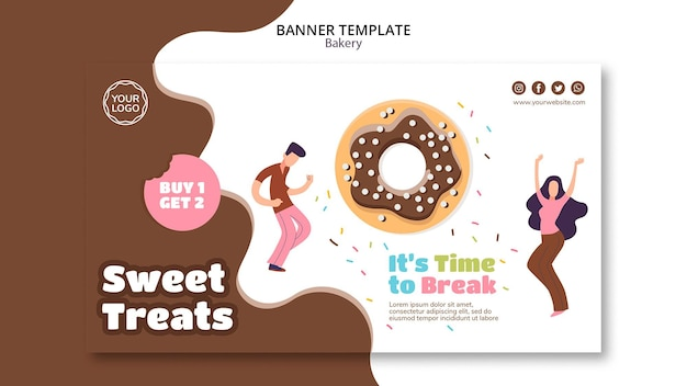 Horizontal banner template for sweet baked donuts