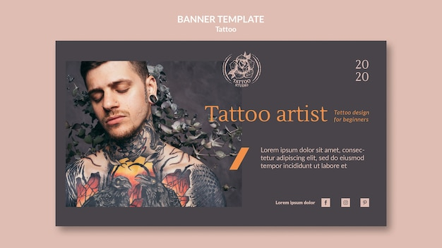 Horizontal banner template for tattoo artist