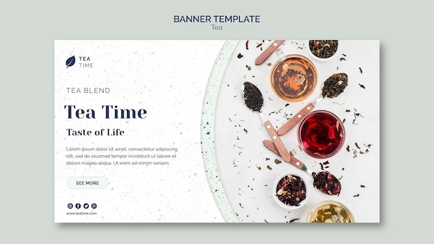 Horizontal banner template for tea time