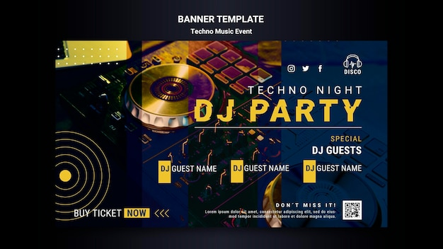 Horizontal banner template for techno music night party