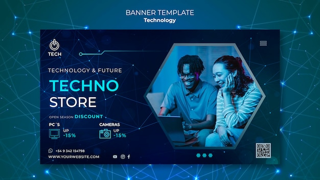 Horizontal banner template for techno store