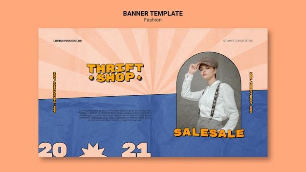 Modello di banner orizzontale per vendita di moda negozio dell'usato